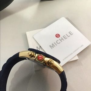 Michele Accessories - Michele Tahitian Dark Blue Gold Chrono Watch. New